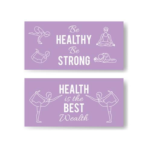 Vector yoga vormt banners. Asana-illustraties.