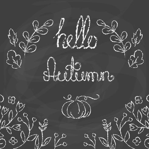 Hallo herfstkaart met letters. vector