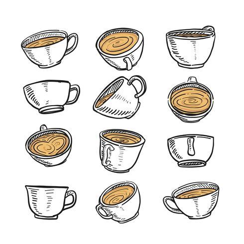 Hand getrokken schets van een kopje koffie in elke positie vector