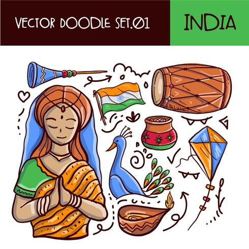 Indian Republic Day Doodle Icon Set. Vector hand getrokken stijl