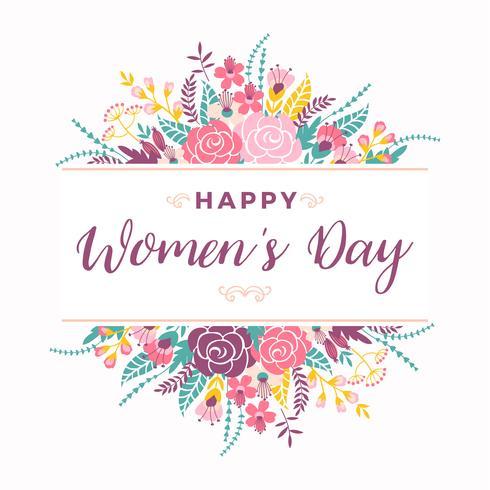Internationale Vrouwendag. Vectormalplaatje met bloemen en het van letters voorzien. vector
