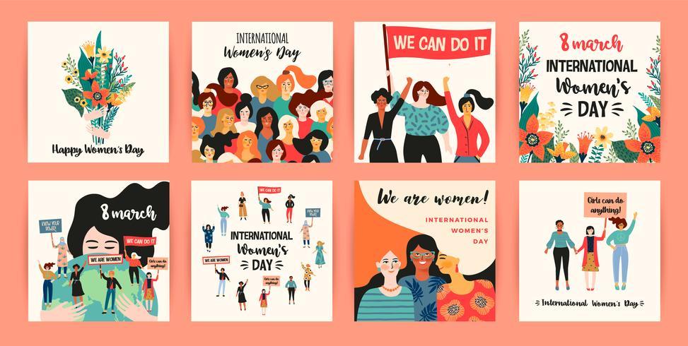 Internationale Vrouwendag. Vector sjablonen met vrouwen verschillende nationaliteiten en culturen.