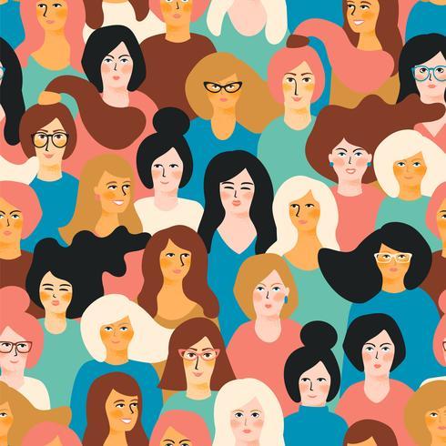 Internationale Vrouwendag. Vector naadloos patroon met vrouwengezichten.