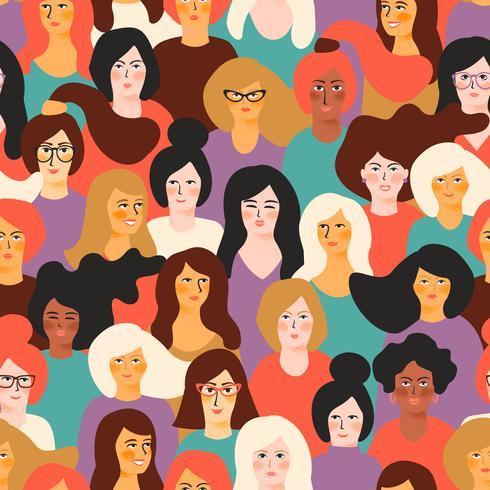 Macht van het meisje. Vector naadloos patroon met vrouwengezichten.