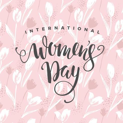 Internationale Vrouwendag. Vectormalplaatje met bloemen en het van letters voorzien vector