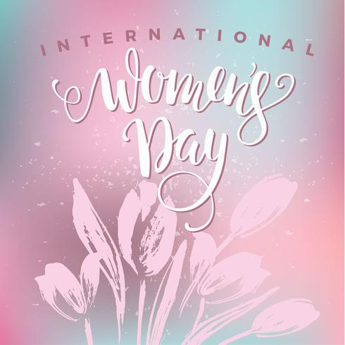 Internationale Vrouwendag. Belettering ontwerp met bloemen vector