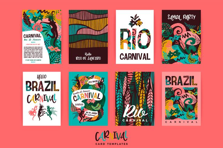 Carnaval van Brazilië. Vector sjablonen met trendy abstracte elementen.