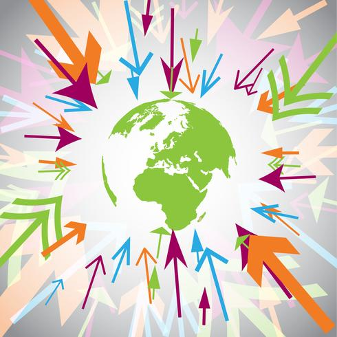 Aarde met kleurrijke pijlen vector