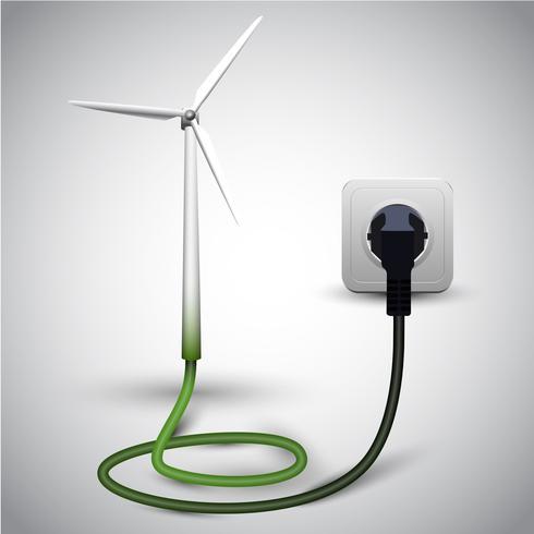 Windturbine met contactdoos vector