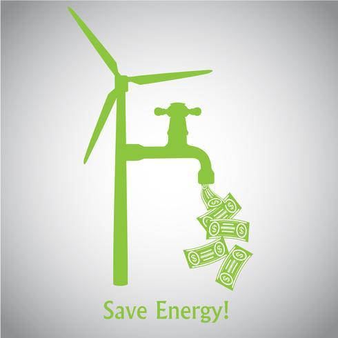 Energie besparen! Windturbine en geld vector