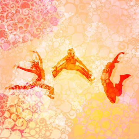 Mensen dansen en springen vector