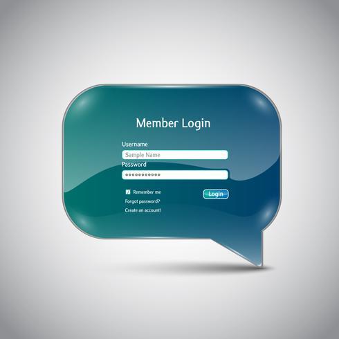 """Speech bubble """"Member Login"""" interface vector"""