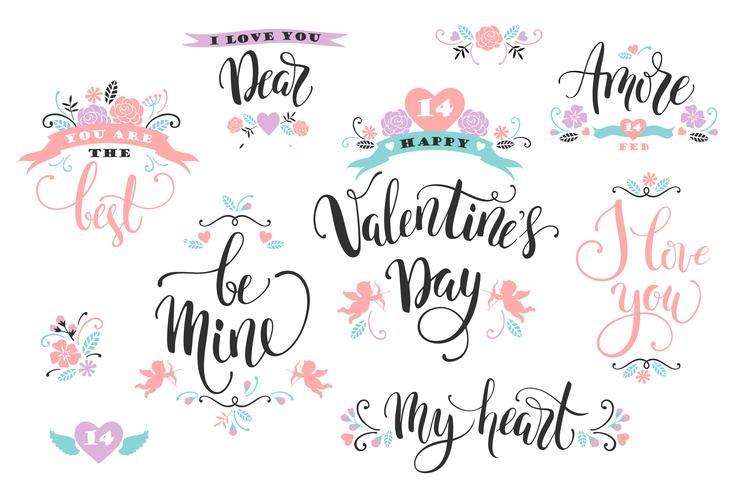 Fijne Valentijnsdag. Set hand getrokken inscripties. vector