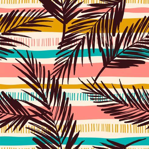 Abstract naadloos patroon met tropische bladeren. Vector sjabloon.