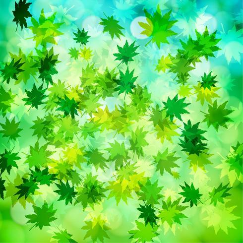 Groene bladeren en bokeh vectorachtergrond vector