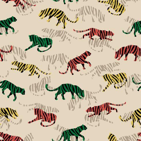 Naadloos exotisch patroon met abstracte silhouetten van tijgers. vector