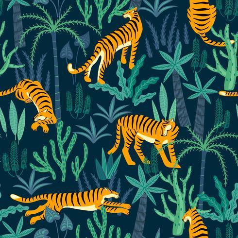 Naadloos exotisch patroon met tijgers in de wildernis. vector