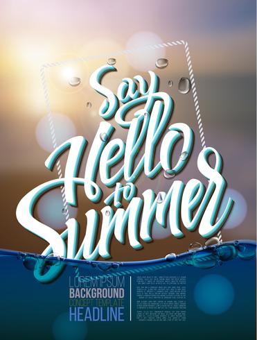 Hallo zomer poster inscriptie op een achtergrond zeegezicht foto vector