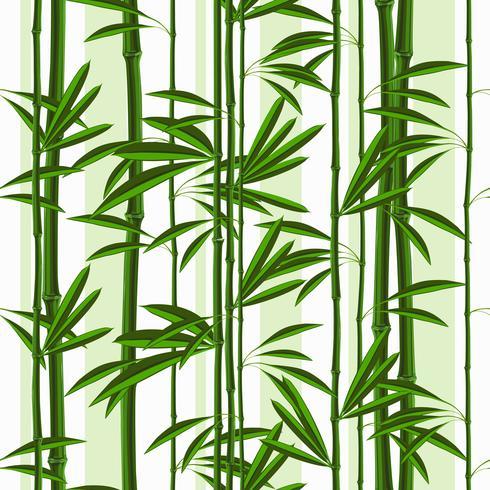 Naadloos patroon met tropische installatiesbamboe en bladeren. vector
