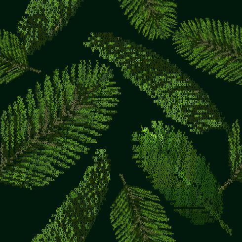 Naadloos patroon met tropische palmbladen op zwarte die achtergrond van brieven wordt verzameld vector