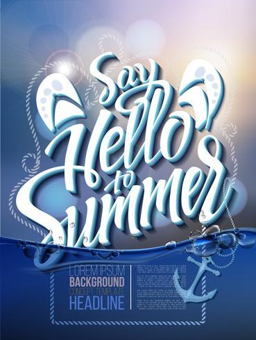 Hallo zomer poster inscriptie op een achtergrond zeegezicht foto. vector