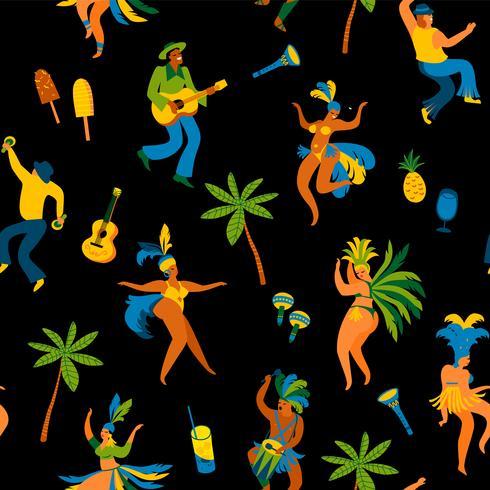 Carnaval van Brazilië. Naadloos patroon met grappige dansende mannen en vrouwen in heldere kostuums. vector