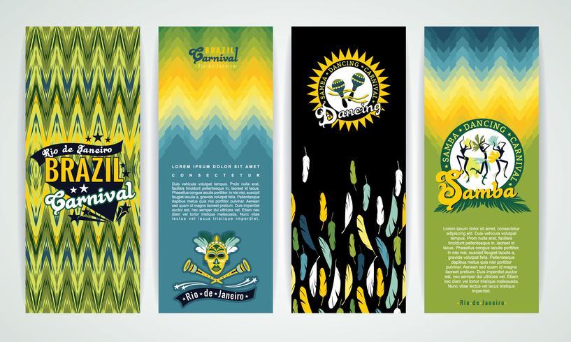 Verticale banners die met Carnaval van Brazilië Achtergronden worden geplaatst. vector
