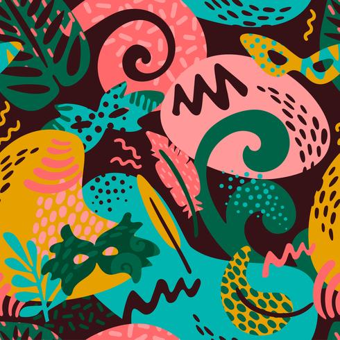 Carnaval van Brazilië. Vector naadloos patroon met trendy abstracte elementen