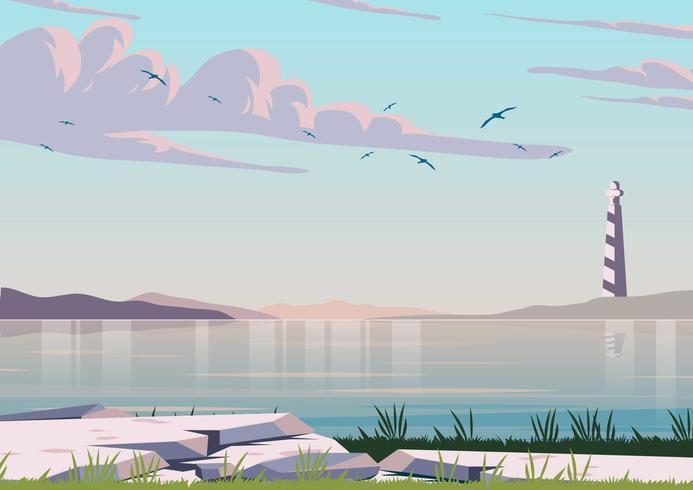 Oceaan landschap achtergrond vector