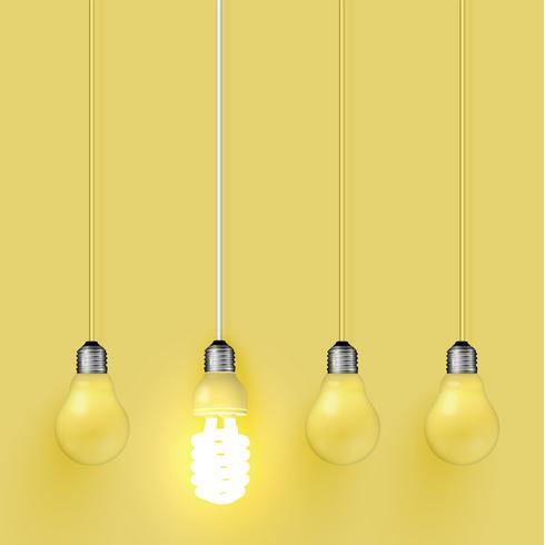 Energiespaarder lightbulb onder oude degenen, vectorillustratie vector