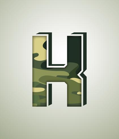 Camouflagekarakter, gedetailleerde vectorlettertypen vector