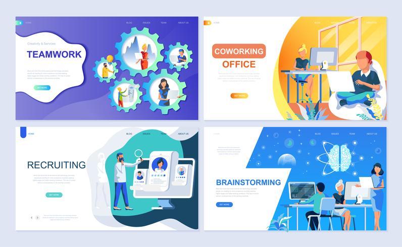 Set van bestemmingspagina-sjabloon voor teamwork, werving, brainstorming, coworking office vector
