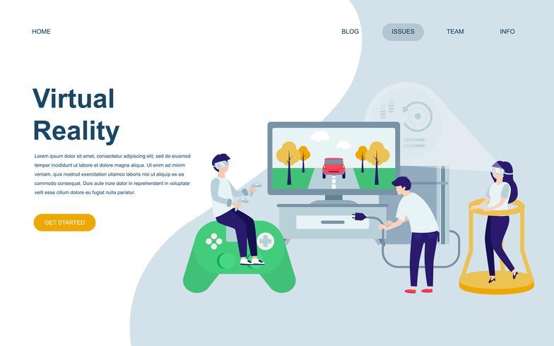 Moderne platte webpagina ontwerpsjabloon van virtuele Augmented Reality vector