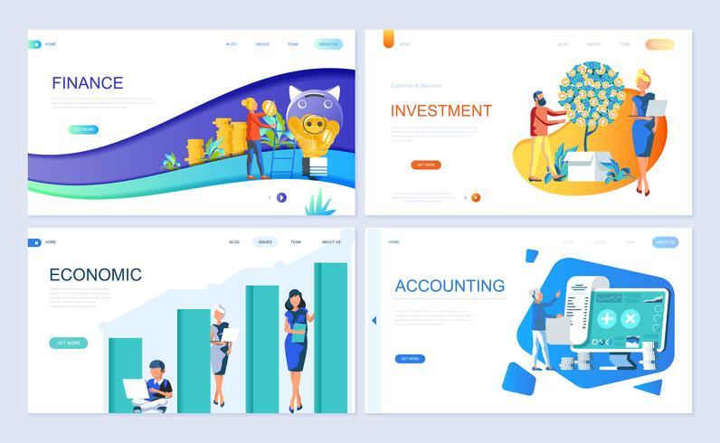Set van bestemmingspagina sjabloon voor Financiën, investeringen, boekhouding, economische groei vector