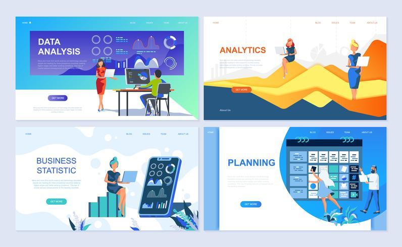 Set van sjabloon voor bestemmingspagina's voor gegevensanalyse, analyse, bedrijfsstatistiek, planning vector