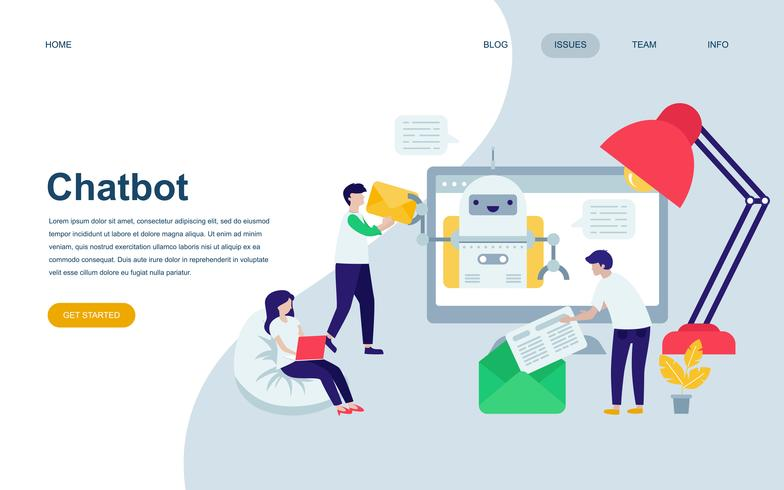 Moderne platte webpagina ontwerpsjabloon van Chat Bot en Marketing vector