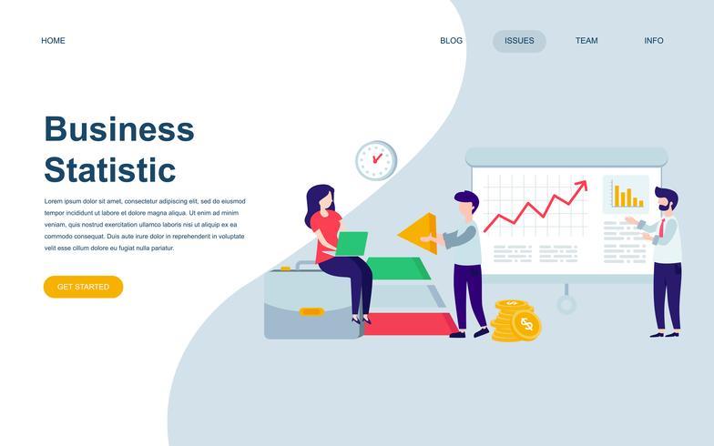 Moderne platte webpagina ontwerpsjabloon van bedrijfsstatistiek vector