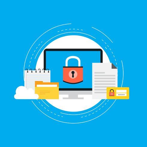 Ontwerp van de de veiligheids het vlakke vectorillustratie van gegevens. Beveiligde informatie, gegevensprivacy en hangslotbeveiliging. Pictogram ontwerp voor webbanners en apps vector