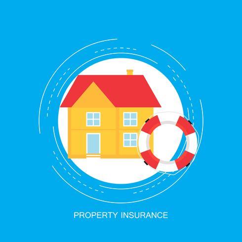 Het concept van de huisverzekering, onroerende goederenbescherming, de vlakke vectorillustratie van verzekeringspolisdiensten vector