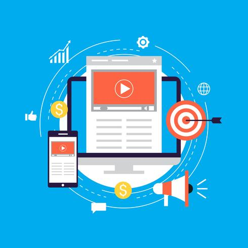Video marketing campagne, online promotie, digitale marketing, internet reclame platte vectorillustratie vector