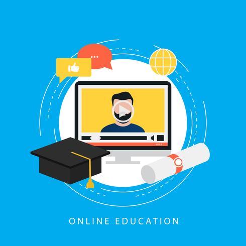 Onderwijs, e-learning, online cursussen, tutorials, online les, video training, universitair diploma platte vector ilustration ontwerp voor webbanners en apps
