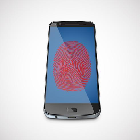 Vingerafdruk op het scherm van een realistische smartphone, vectorillustratie vector