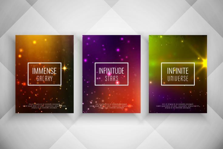 Abstracte stijlvolle reeks van de de brochuremalplaat van de melkwegstijl vector