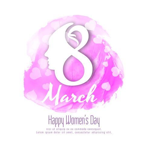 Abstract Happy Women's Day roze aquarel achtergrondontwerp vector