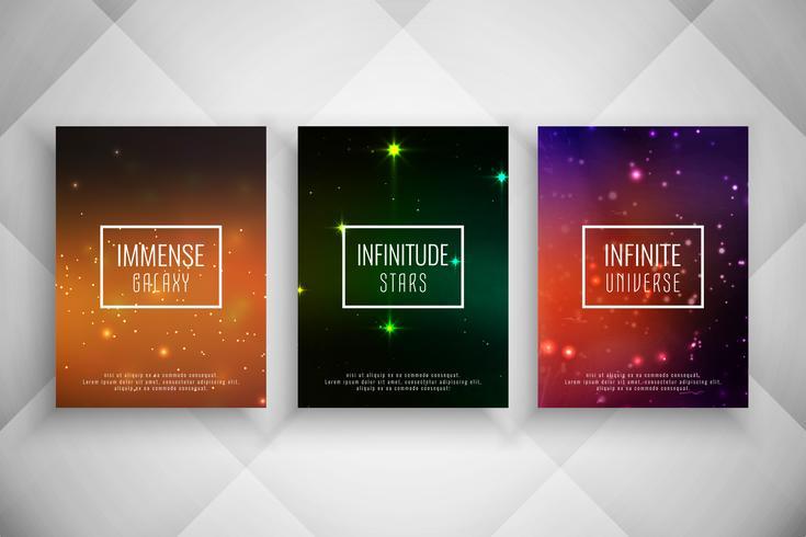 Abstracte galaxy stijl brochure sjabloon set vector