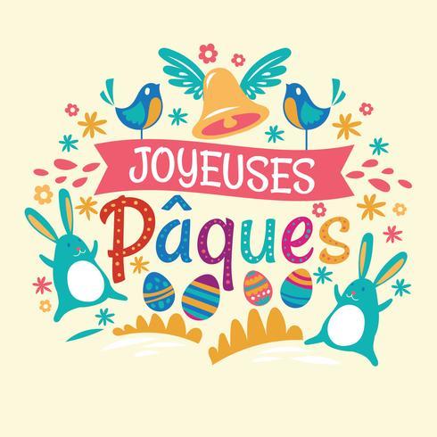 Happy Easter of Joyeuses Pâques Typografische achtergrond met konijn en bloemen vector