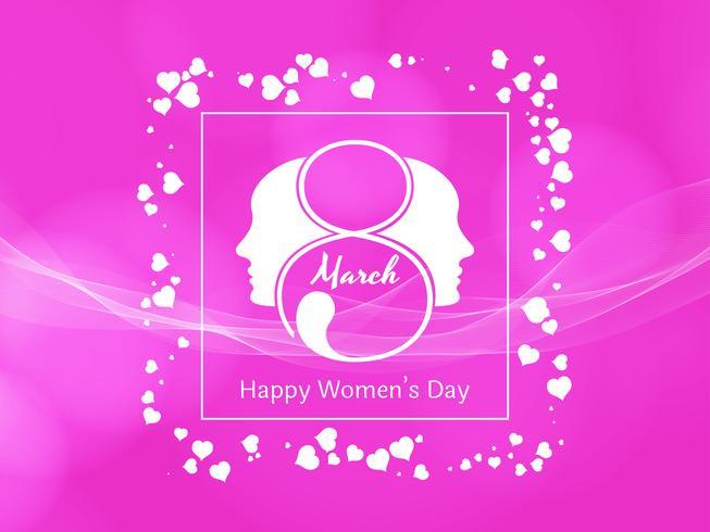 Abstract Happy Women's Day roze achtergrondontwerp vector
