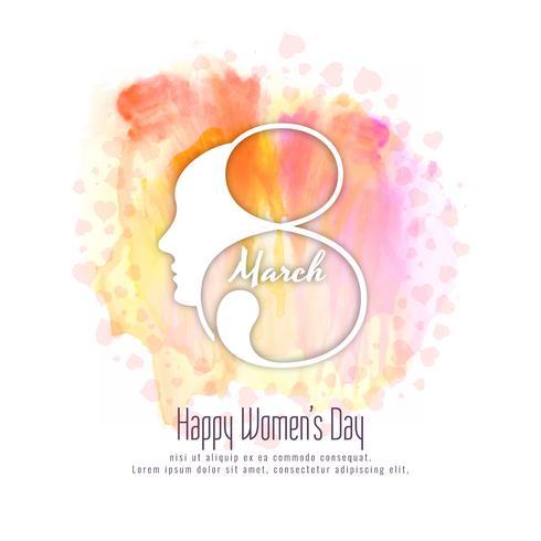 Abstract Happy Women's Day kleurrijke aquarel achtergrondontwerp vector