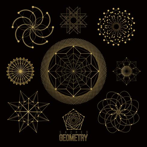 Heilige geometrie vormen, vormen van lijnen, logo, teken vector