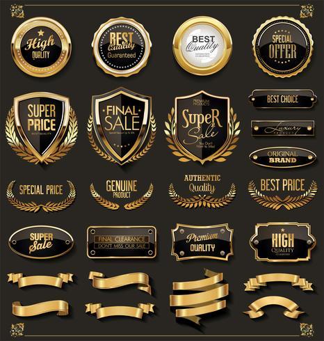 Retro uitstekende zwarte en gouden insignes en etiketteninzameling vector